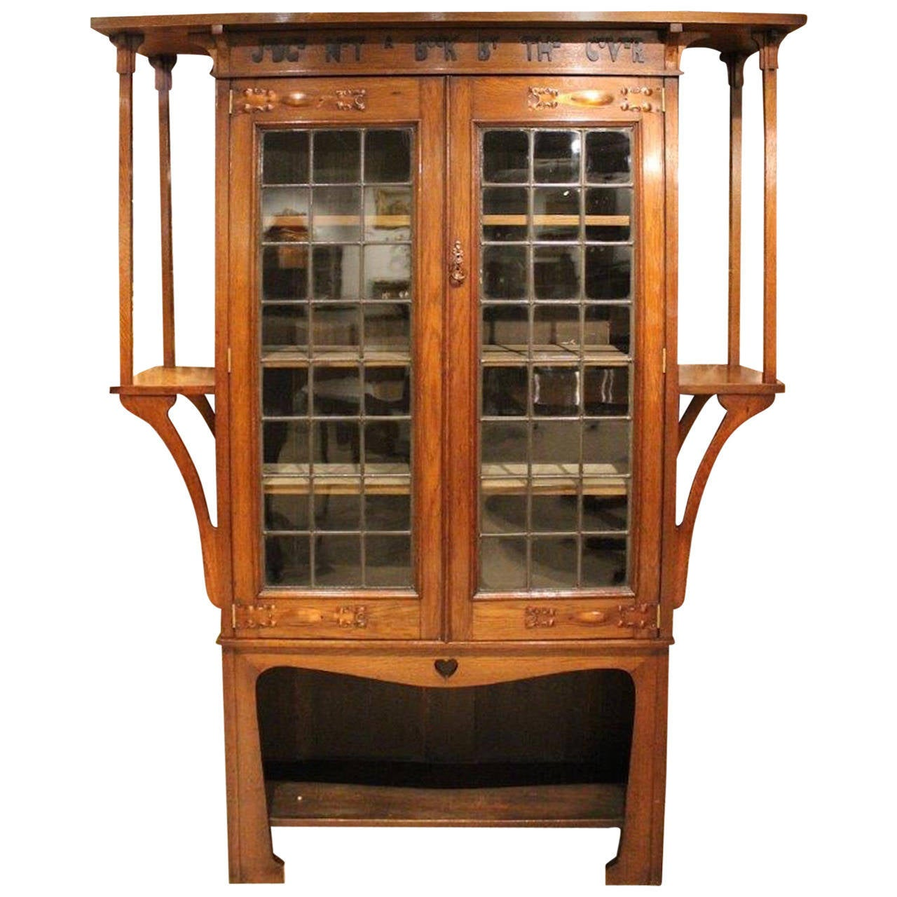 Oak arts and crafts liberty 39 s style bookcase with motto at for Arts and crafts bookcase