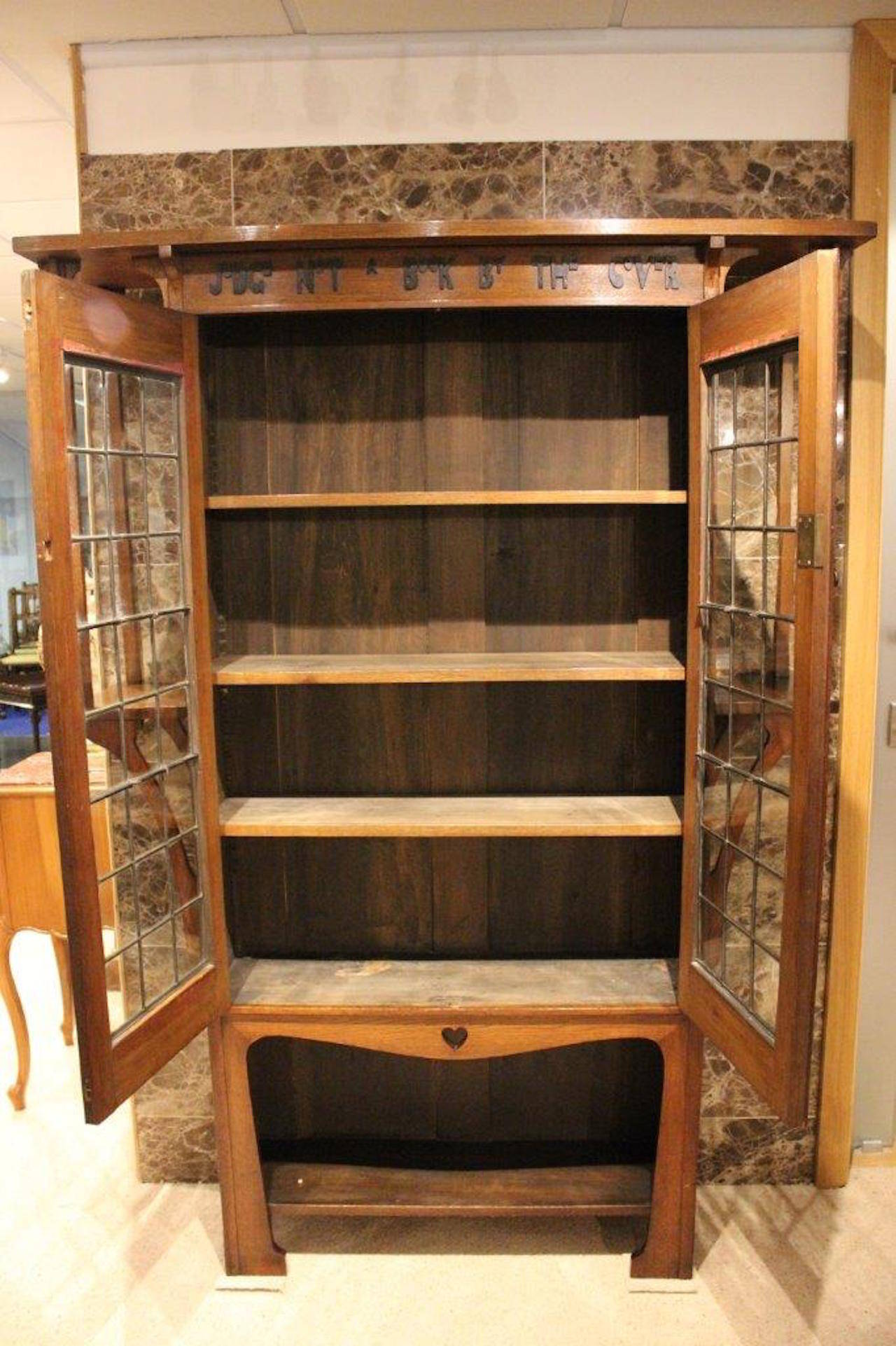 Oak arts and crafts liberty 39 s style bookcase with motto at for Arts and crafts bookshelf