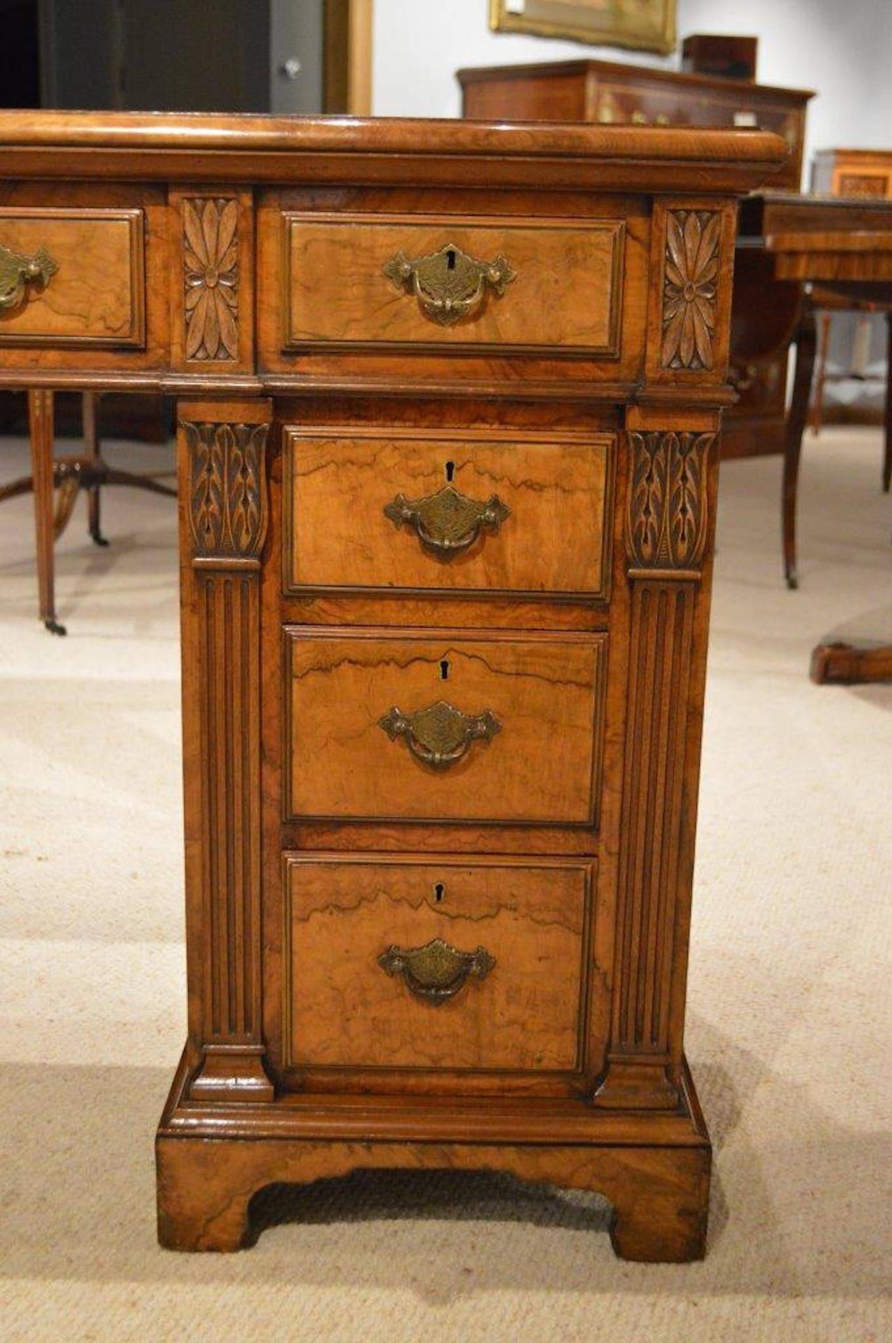 Beautiful Burr Walnut Late Victorian Period Antique Pedestal Desk 2 - Beautiful Burr Walnut Late Victorian Period Antique Pedestal Desk