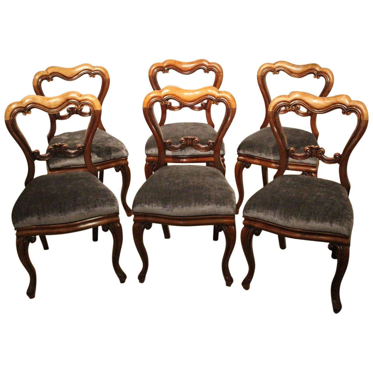 Set of six mahogany victorian period antique dining chairs for Antique dining room furniture