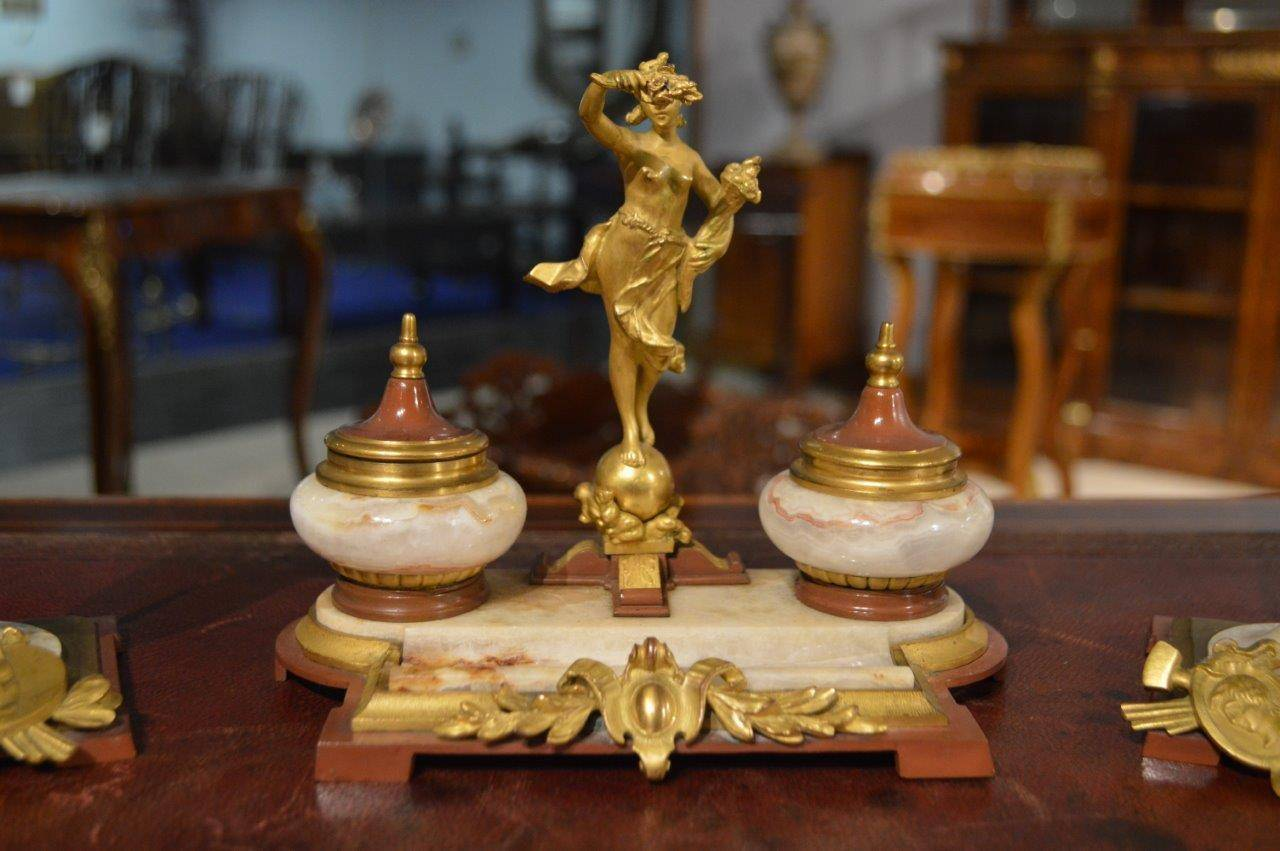 Beautiful Onyx and Ormolu French Antique Desk Set For Sale 1 - Beautiful Onyx And Ormolu French Antique Desk Set At 1stdibs