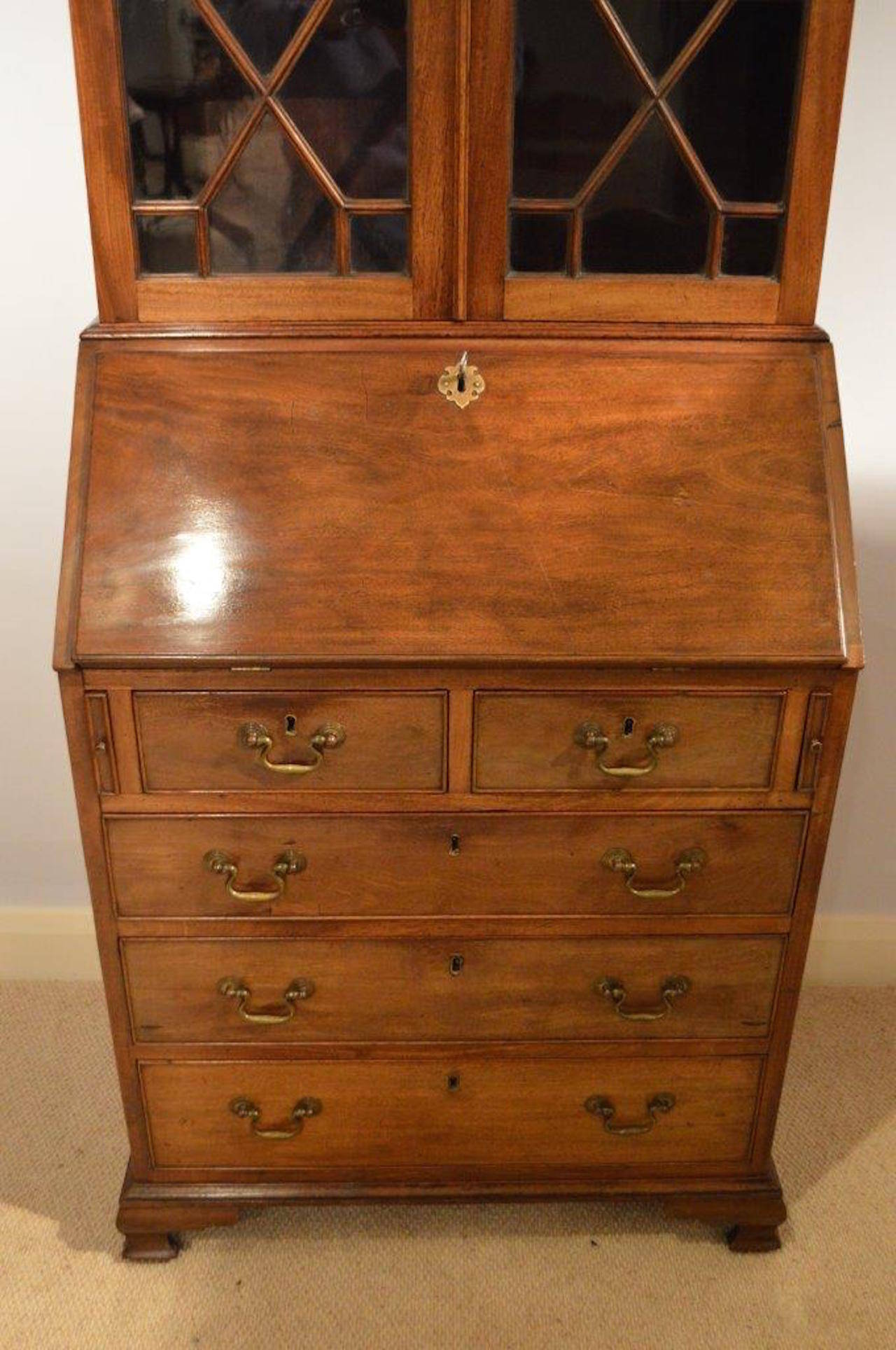 mahogany small scale george iii style mahogany bureau bookcase at 1stdibs. Black Bedroom Furniture Sets. Home Design Ideas