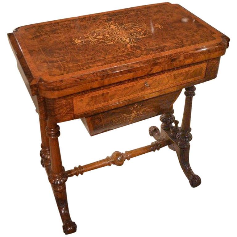 Burr Walnut Inlaid Victorian Period Antique Games or Sewing Table For Sale - Burr Walnut Inlaid Victorian Period Antique Games Or Sewing Table At