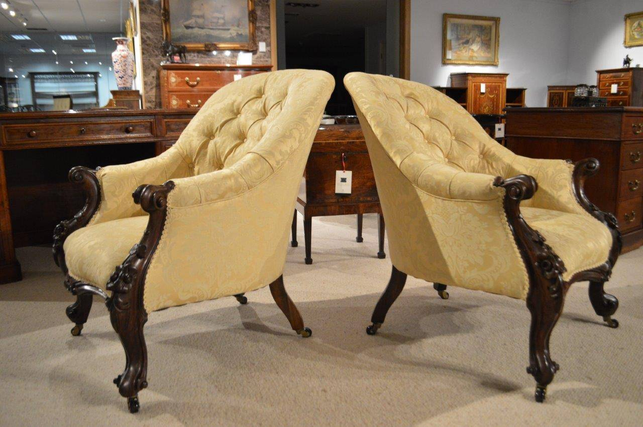 Pair of Solid Rosewood Victorian Period Antique Armchairs 2 - Pair Of Solid Rosewood Victorian Period Antique Armchairs At 1stdibs