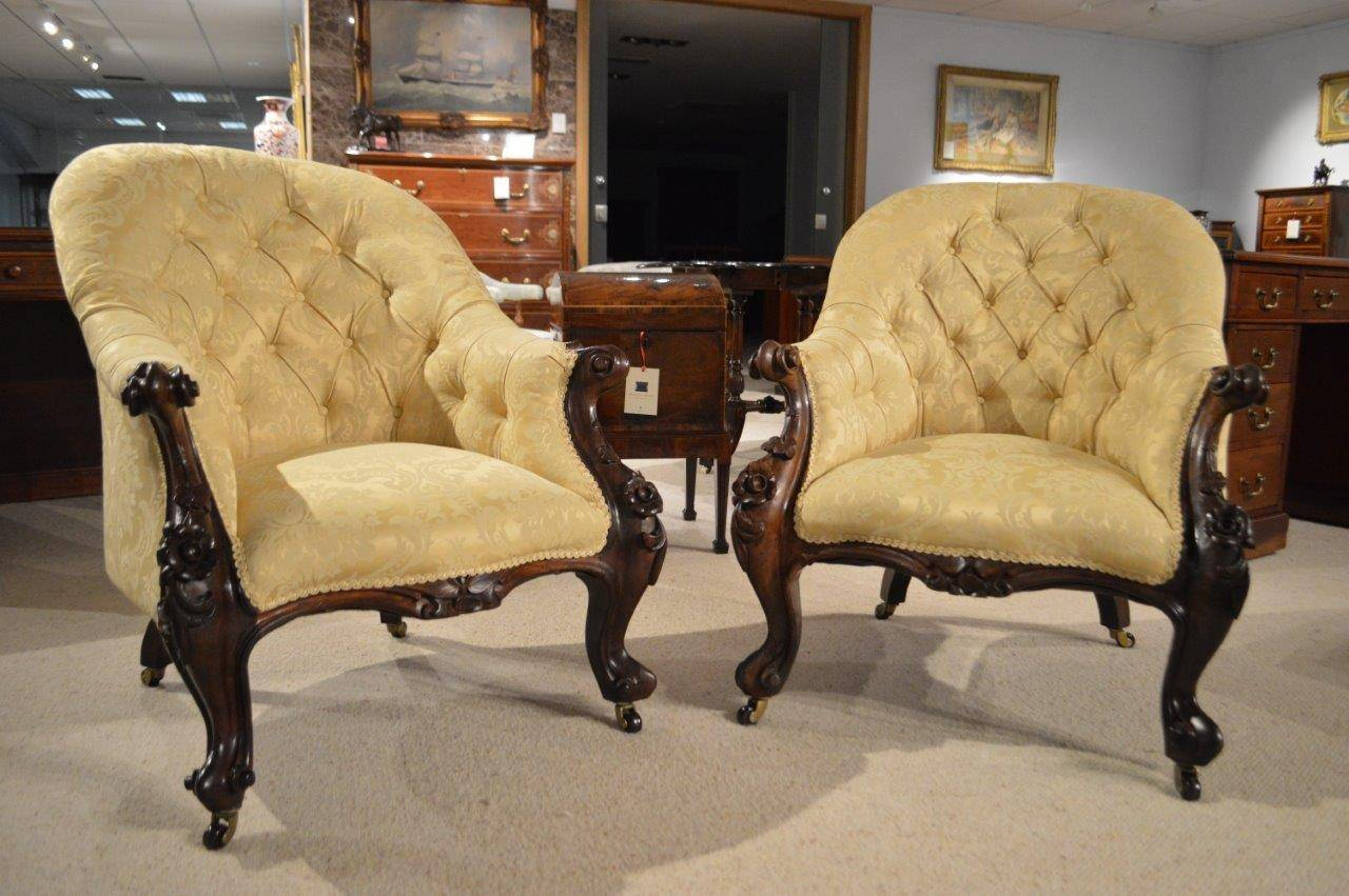 Antique victorian armchair - Pair Of Solid Rosewood Victorian Period Antique Armchairs 3