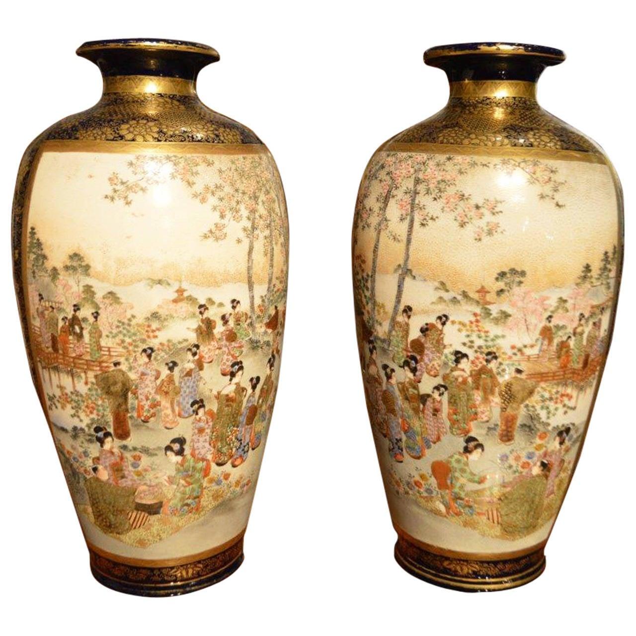 Good pair of japanese meiji period satsuma vases at 1stdibs good pair of japanese meiji period satsuma vases for sale reviewsmspy