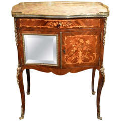 Rare Rosewood, Marquetry Inlaid and Ormolu French Side Bijouterie Cabinet