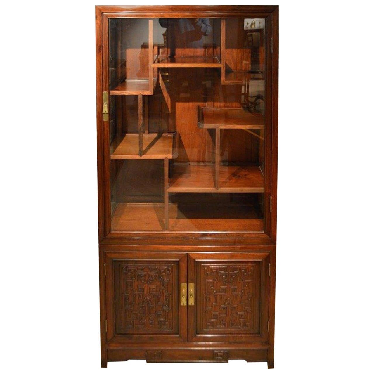 Hardwood chinese antique display cabinet at 1stdibs for Antique display cabinet