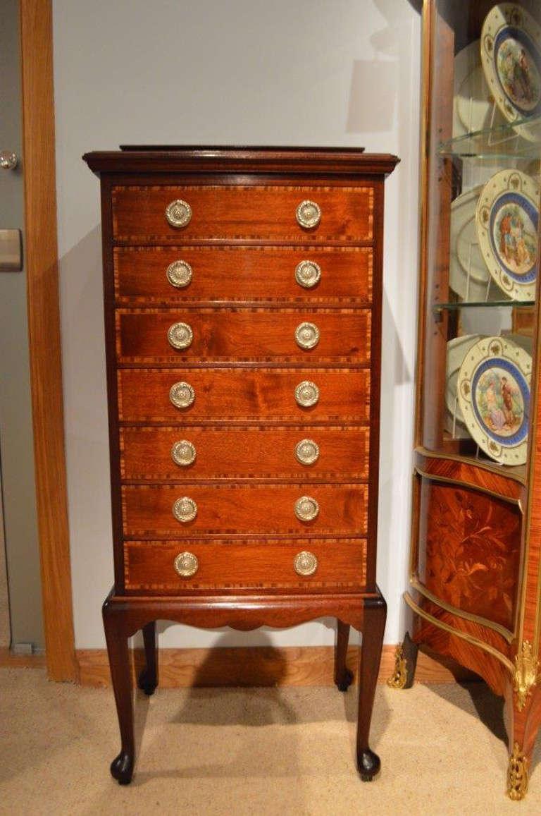 Mahogany Inlaid Edwardian Period Antique Music Cabinet At