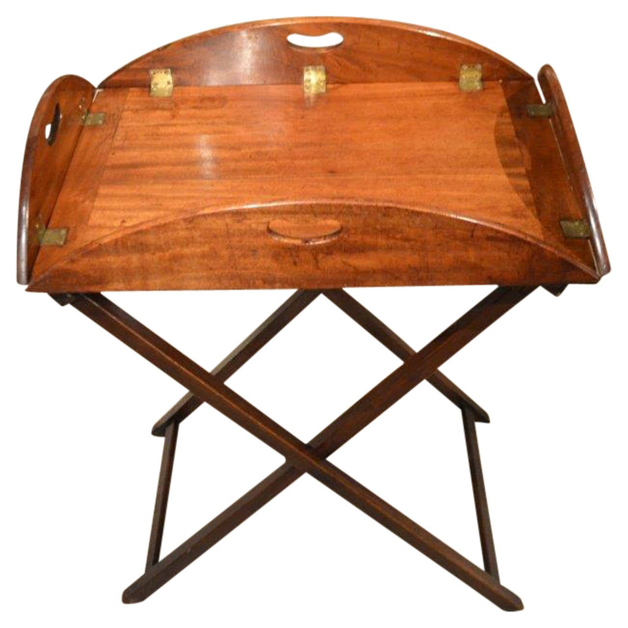 a mahogany regency period antique folding butlers tray on stand at