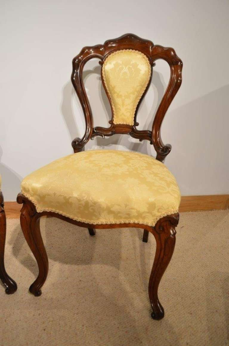 Antique victorian dining chairs - Stunning Set Of Four Rosewood Victorian Period Antique Dining Chairs 2