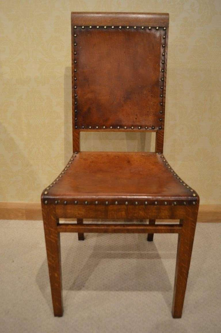 Rare Set Of Eight Arthur Simpson Oak Antique Dining Chairs