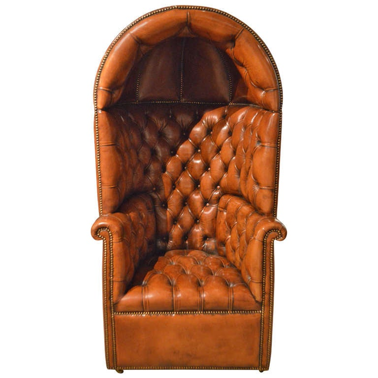 Stunning quality brown leather georgian style hooded porters chair at 1stdibs
