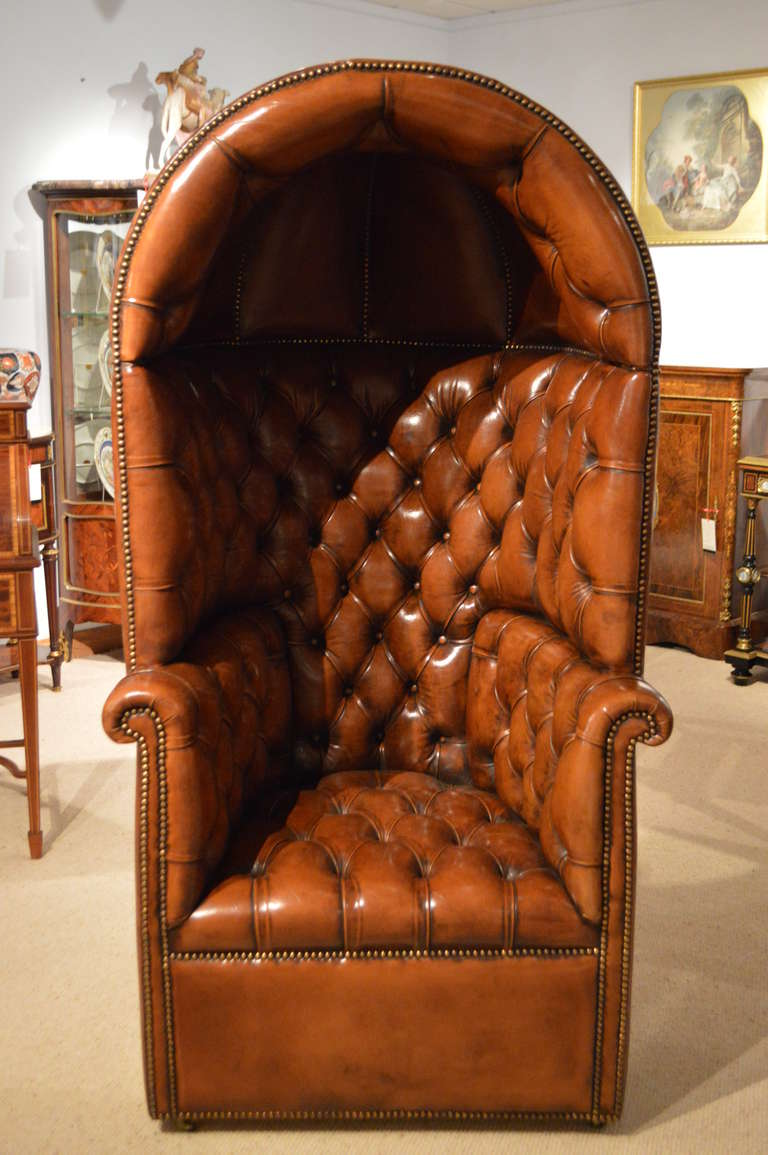 Attirant A Stunning Quality Brown Leather Georgian Style Deep Buttoned Hooded  Porters Chair. The Back Of
