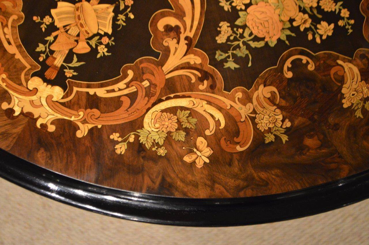 Quality Burr Walnut And Marquetry Inlaid Victorian Period
