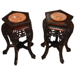 Small Pair of Hardwood Chinese Marble Inset Stands