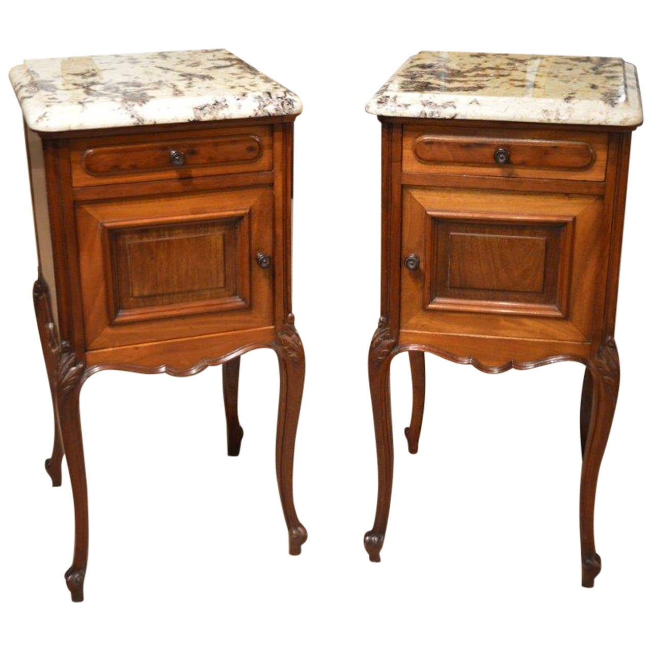 Pair of Mahogany French Antique Bedside Cabinets or Cupboards 1 - Pair Of Mahogany French Antique Bedside Cabinets Or Cupboards At