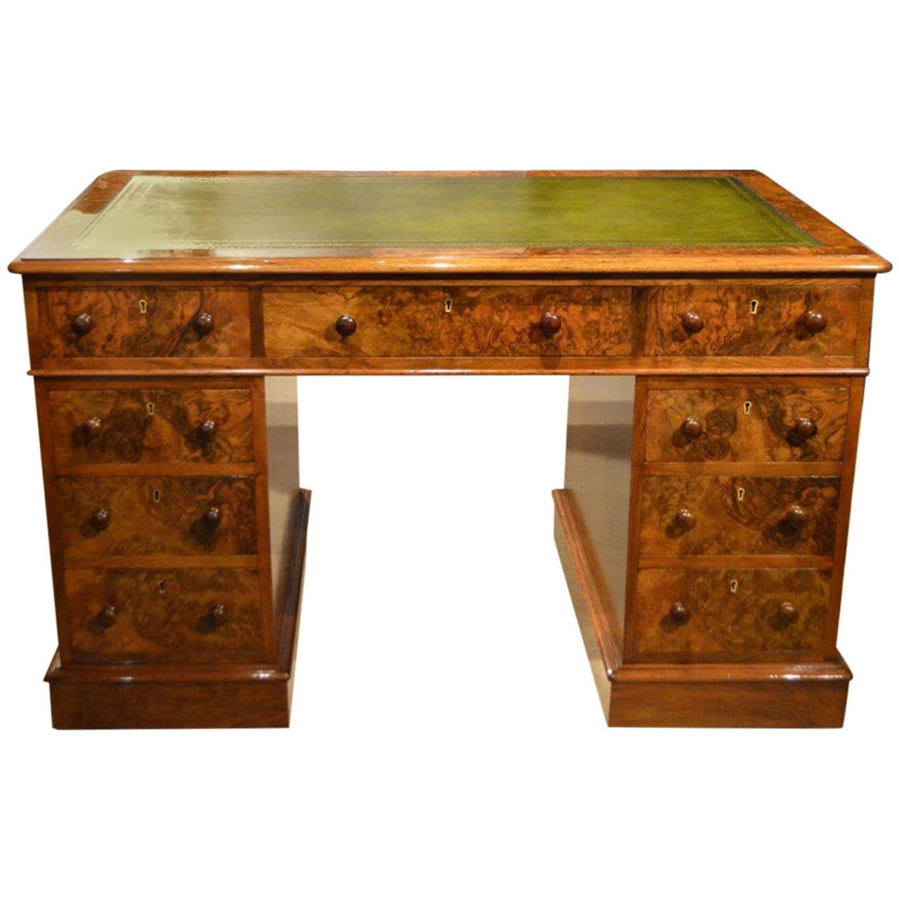 A Beautiful Burr Walnut Victorian Period Antique Pedestal Desk For Sale - A Beautiful Burr Walnut Victorian Period Antique Pedestal Desk At