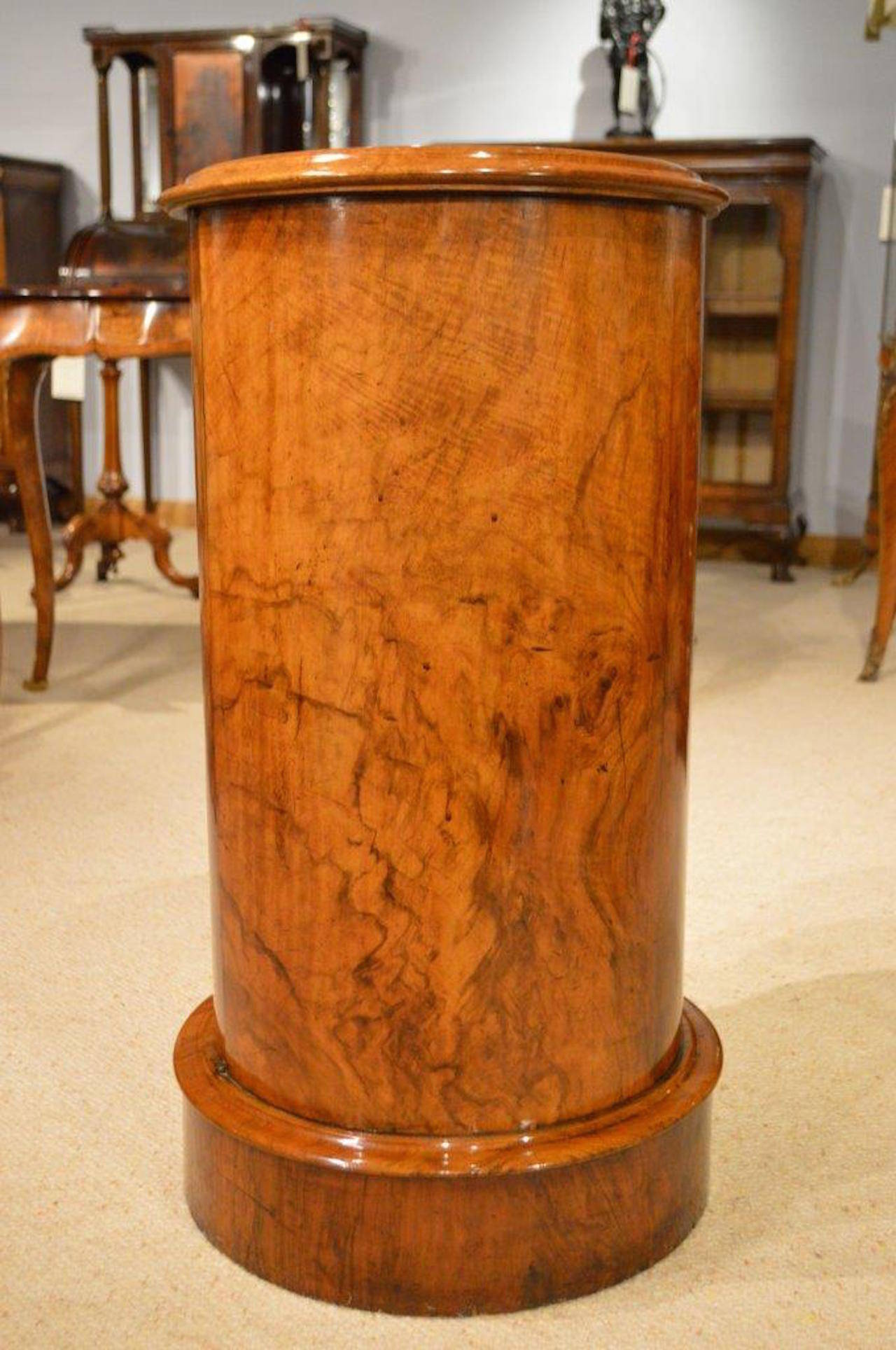 Figured Walnut Victorian Period Cylindrical Antique Bedside Cabinet In  Excellent Condition For Sale In Darwen, - Figured Walnut Victorian Period Cylindrical Antique Bedside Cabinet