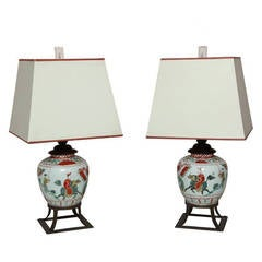 19th Century Pair of Chinese Porcelain Lamps on Patinated Metal Stands