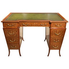 Late Victorian Mahogany Marquetry Inlaid Antique Writing Desk