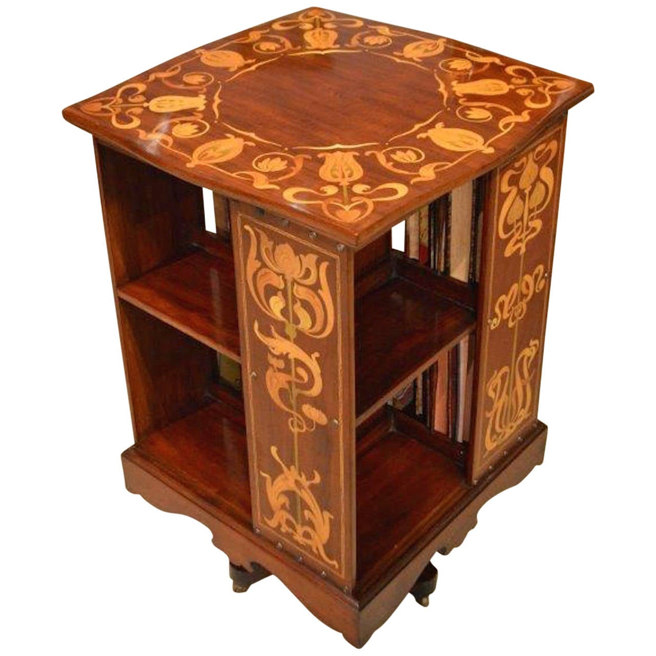Arts and crafts mahogany revolving bookcase by shapland for Arts and crafts bookshelf