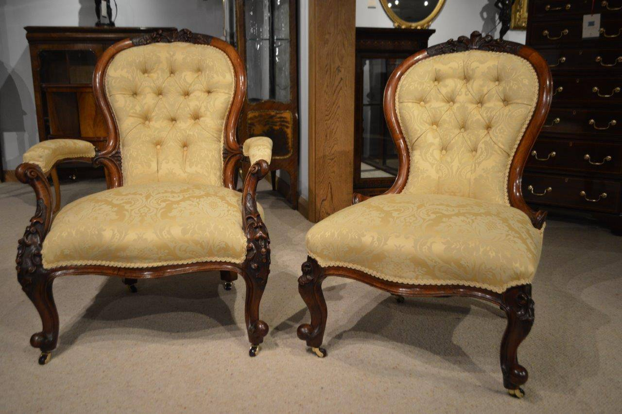 A lovely pair of walnut Victorian Period antique chairs. Each having a  shaped deep buttoned - Pair Of Walnut Victorian Period Antique Chairs At 1stdibs