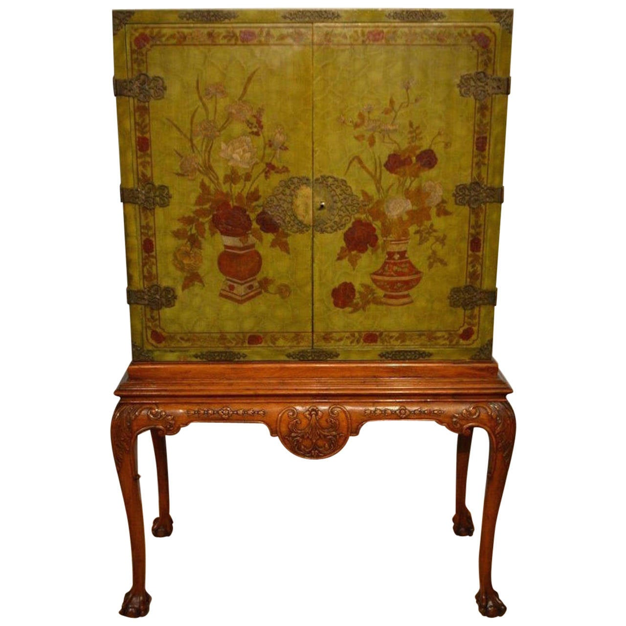 George Ii Style Chinoiserie Lacquered Antique Cocktail Cabinet At 1stdibs
