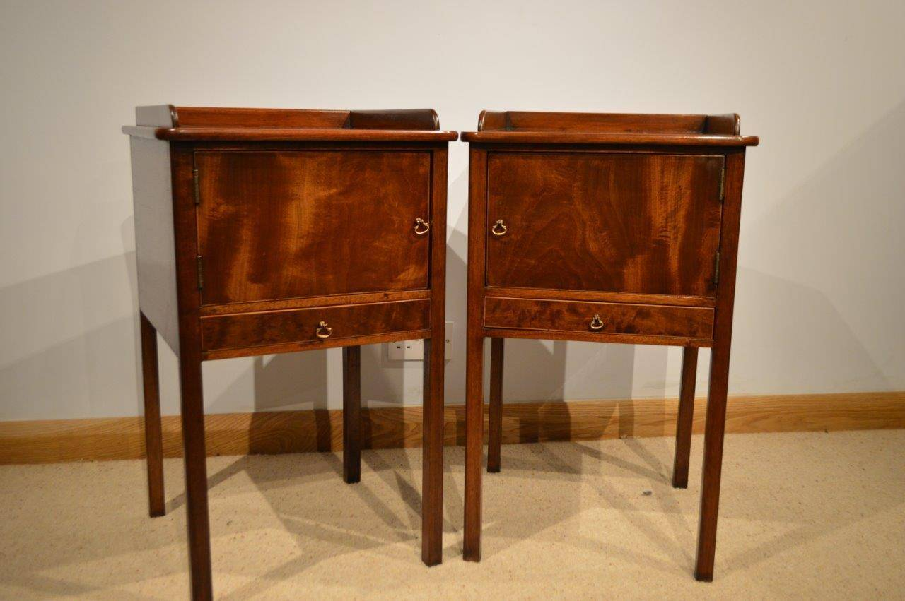 A good pair of mahogany George III Style antique bedside cabinets. Each  with a raised - Pair Of Mahogany George III Style Antique Bedside Cabinets At 1stdibs