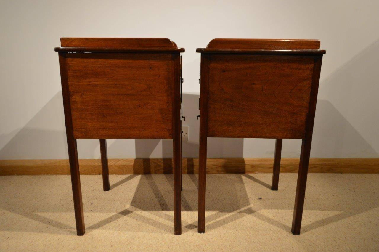 Pair of mahogany george iii style antique bedside cabinets