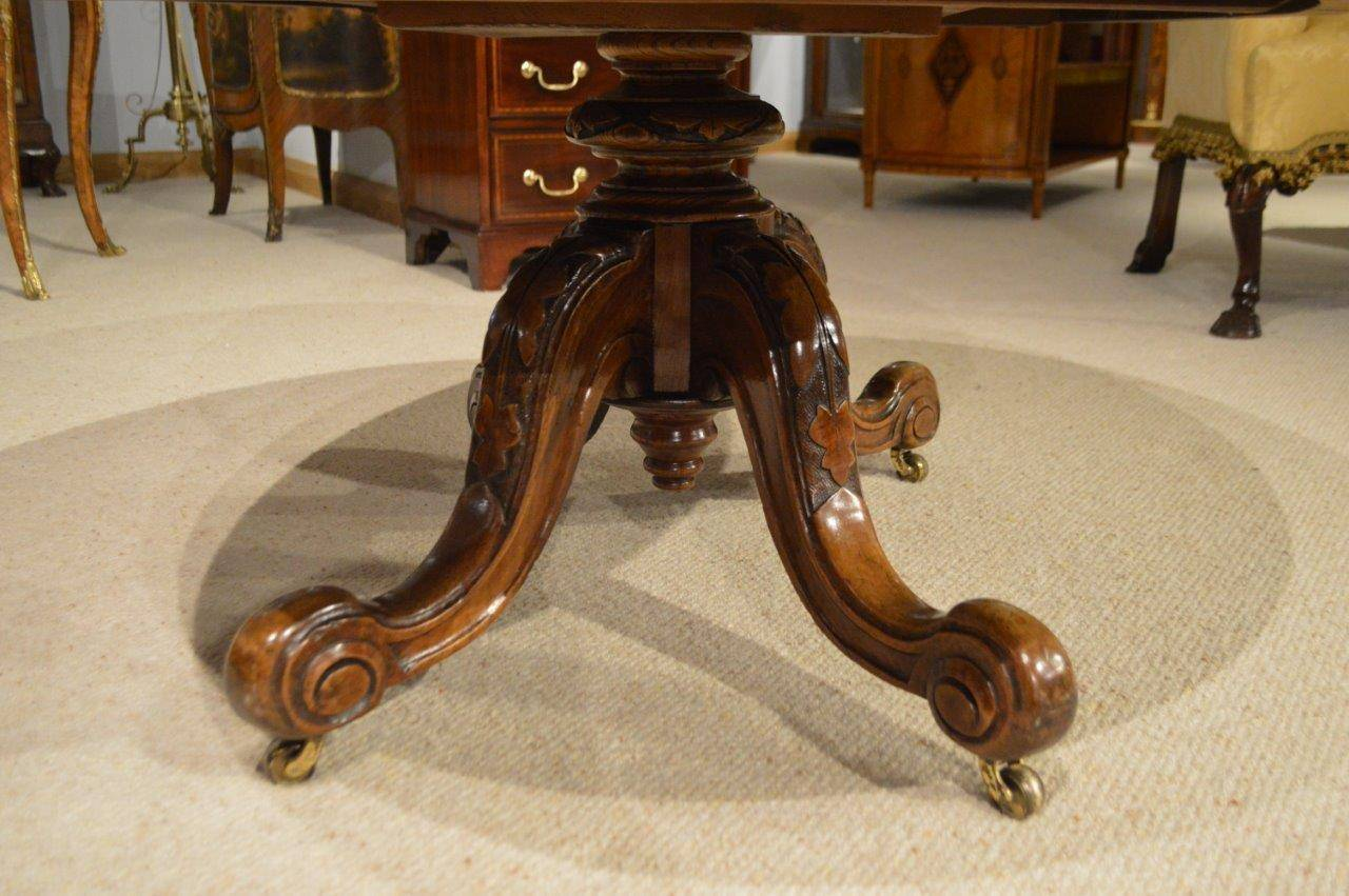 A Burr Walnut Marquetry Inlaid Victorian Period Antique Coffee Table Adapted Having