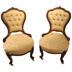 Beautiful Pair of Walnut Victorian Period Ladies or Nursing Chairs