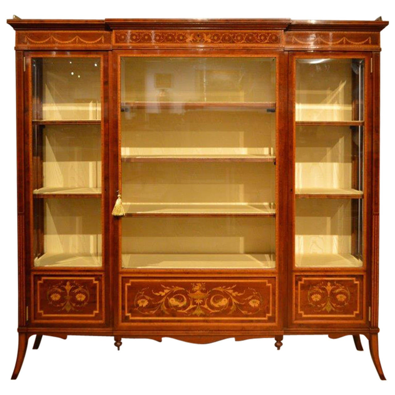 Mahogany Inlaid Antique Display Cabinet by Edwards and
