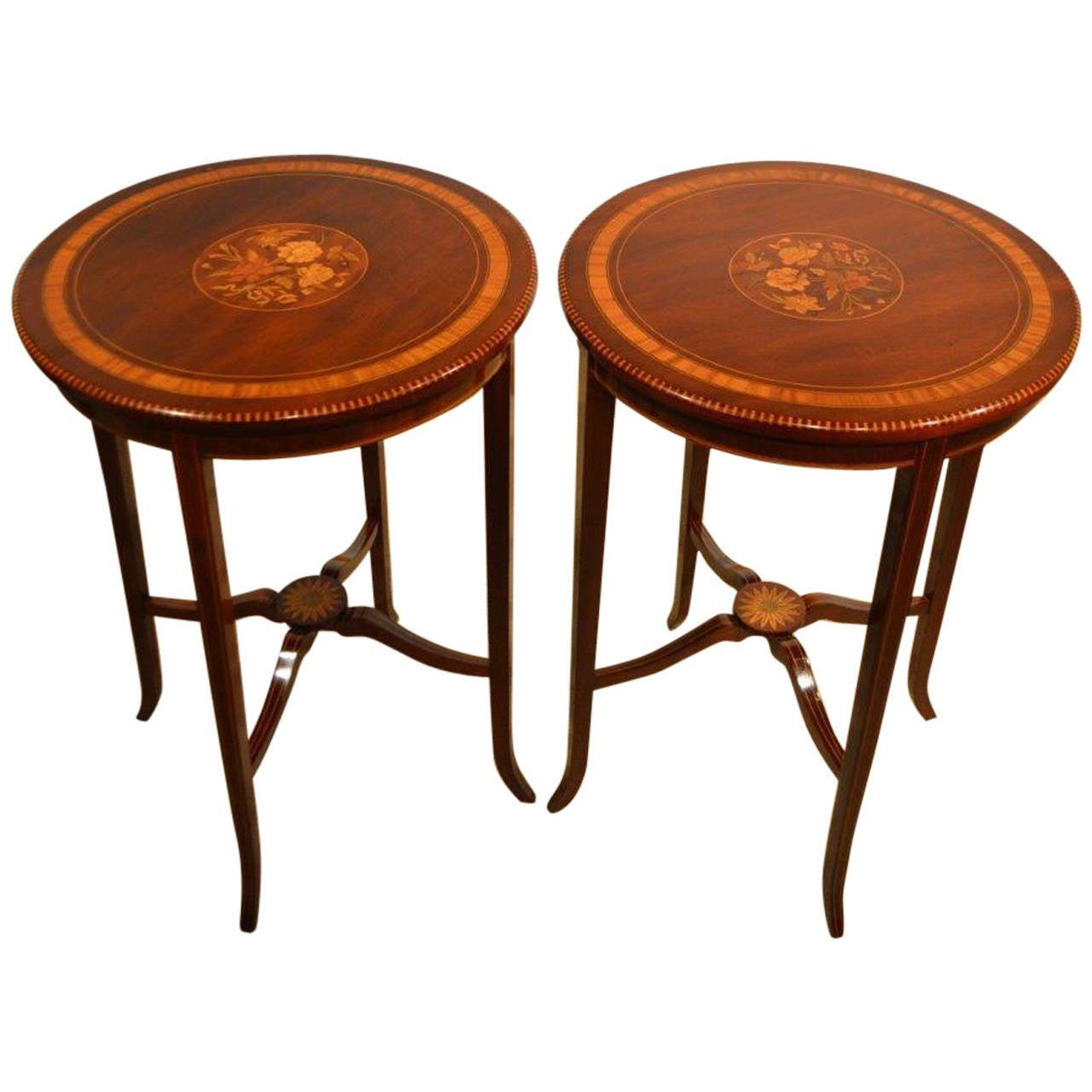 Pair of mahogany inlaid edwardian period occasional or lamp tables pair of mahogany inlaid edwardian period occasional or lamp tables 1 geotapseo Gallery