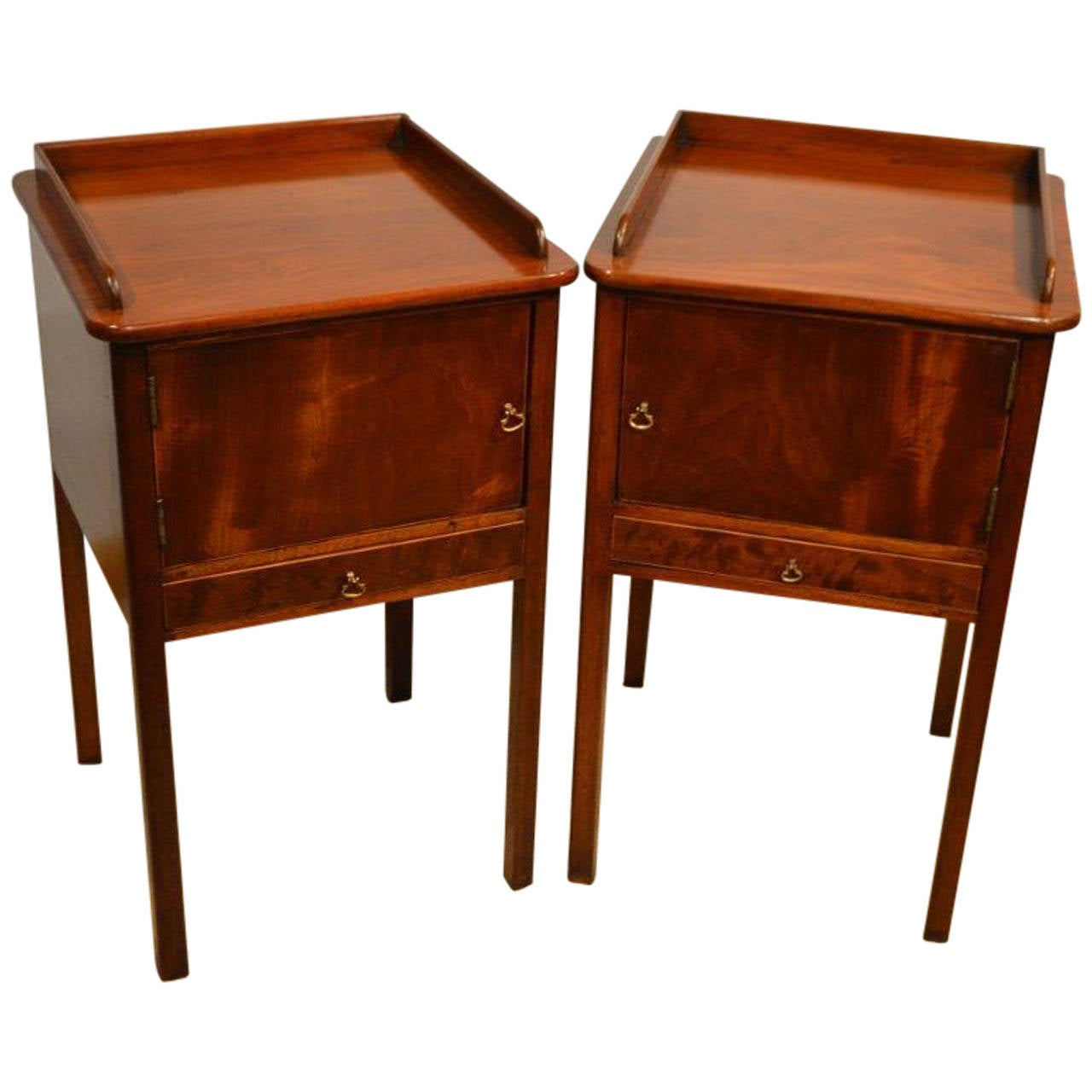 Pair Of Mahogany George III Style Antique Bedside Cabinets 1
