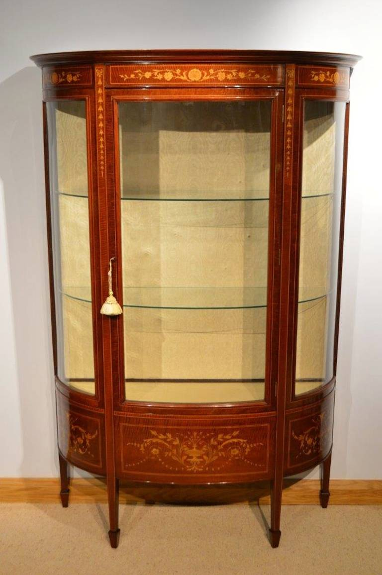 Fine Mahogany Inlaid Edwardian Period Display Cabinet At