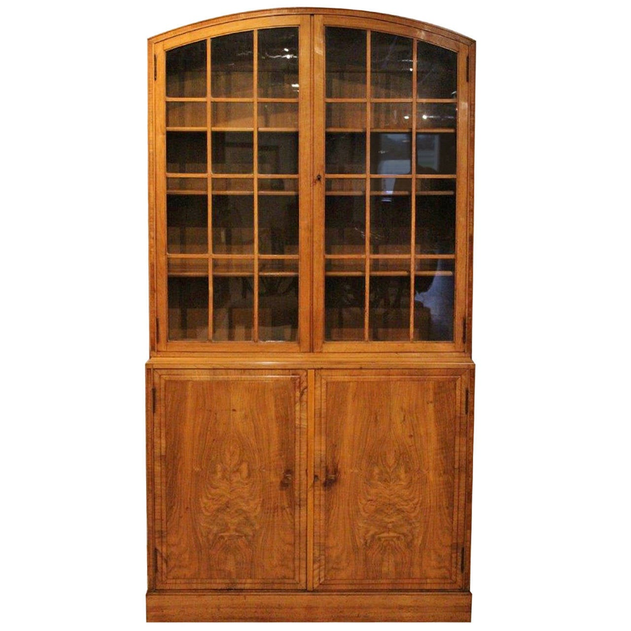 Stylish Walnut Art Deco Period Bookcase By Heals Of London At 1stdibs