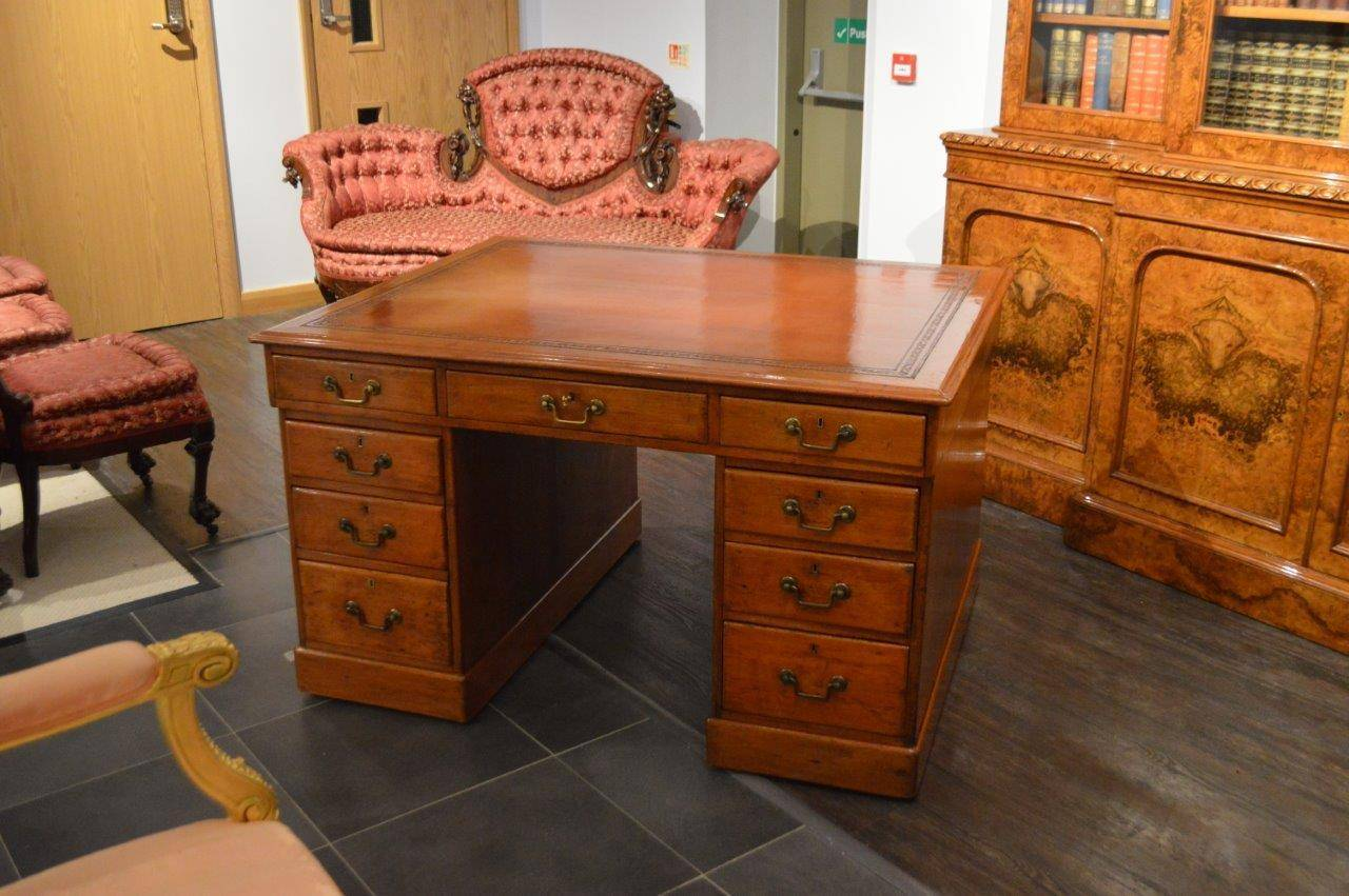 A patinated pine Victorian period antique partners desk. Having a solid  rectangular top with a - Patinated Pine Victorian Period Antique Partners Desk At 1stdibs