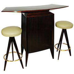 Set of Bar Counter and Two Bar Stools from the 1950s