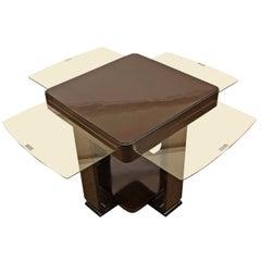 1930-35 Art Deco sidetable, mahogany, glass - Belgium