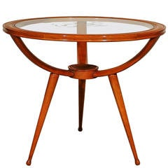 1940s Round Tripod Side or Coffee Table, Beechwood, Engraved Glass, Italy