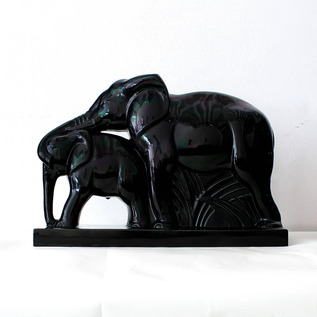art deco elephants faience by charles lemanceau at 1stdibs. Black Bedroom Furniture Sets. Home Design Ideas