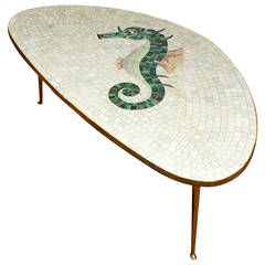 Tripod Coffee Table with Ceramic Mosaic