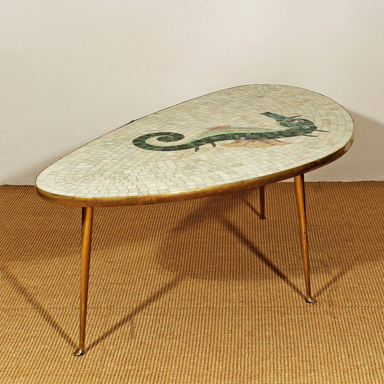 Tripod Coffee Table With Ceramic Mosaic At 1stdibs