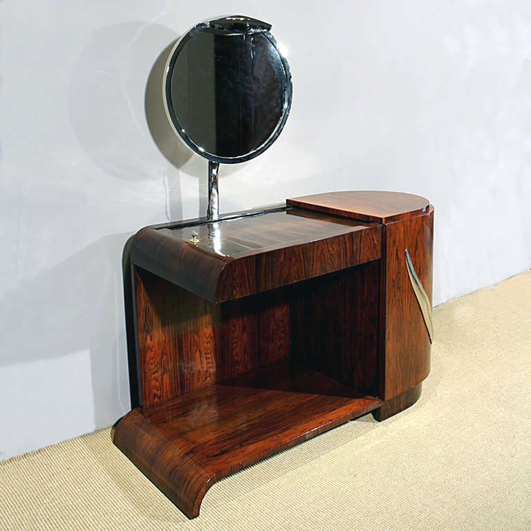 French 1930s Art Deco Vanity, Rio rosewood, Swiveling Luminescent Mirror, France For Sale