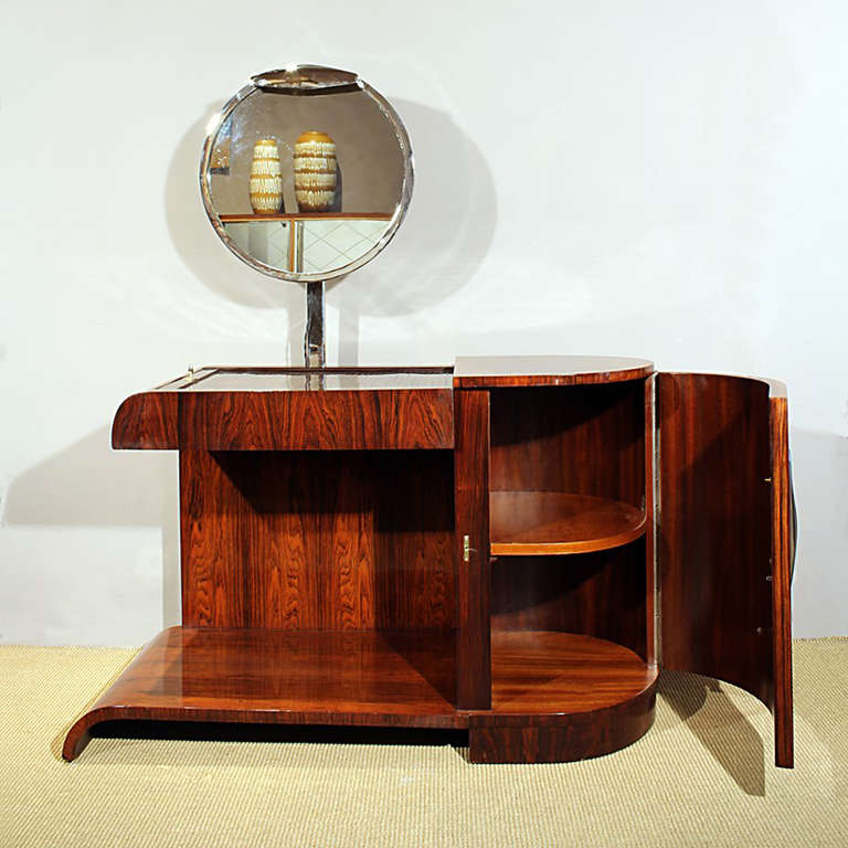 Mid-20th Century 1930s Art Deco Vanity, Rio rosewood, Swiveling Luminescent Mirror, France For Sale