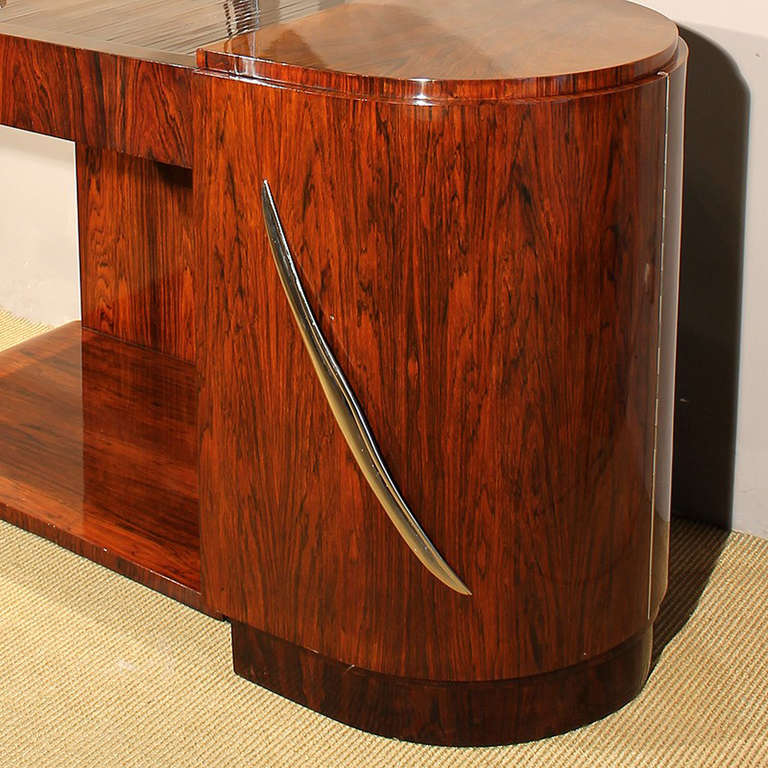 1930s Art Deco Vanity, Rio rosewood, Swiveling Luminescent Mirror, France For Sale 2