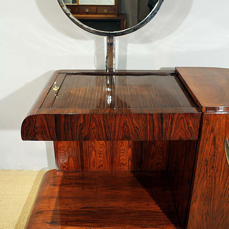 1930s Art Deco Vanity, Rio rosewood, Swiveling Luminescent Mirror, France For Sale 1