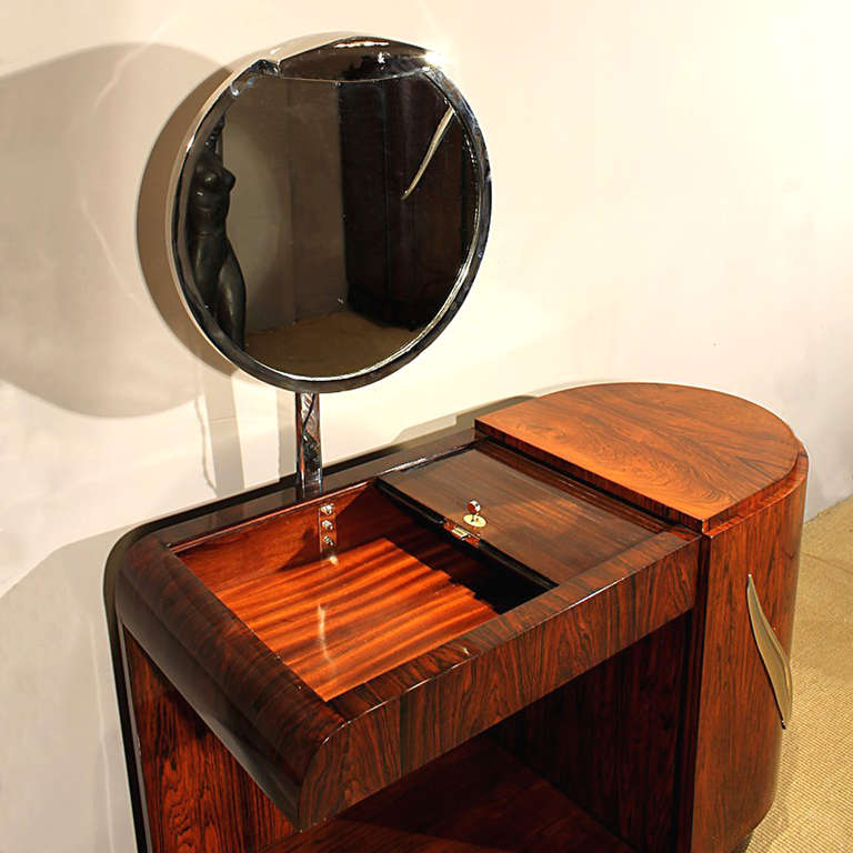 Brass 1930s Art Deco Vanity, Rio rosewood, Swiveling Luminescent Mirror, France For Sale