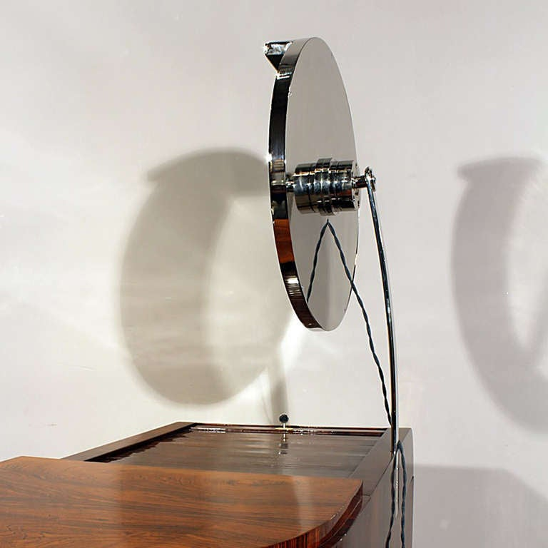 1930s Art Deco Vanity, Rio rosewood, Swiveling Luminescent Mirror, France For Sale 3